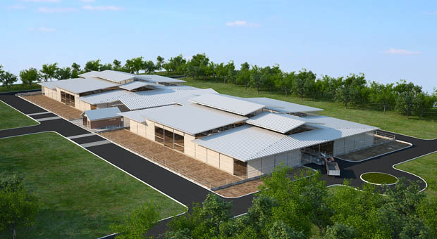 De bovenbouw is uitgevoerd met verspringen in het dak. Dit geeft extra ventilatieopeningen en voorkomt dat dakoppervlakte te massaal in landschap overkomt. (Bron: Sprecher)